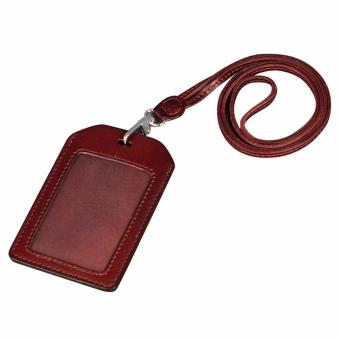 Harga Boshiho Genuine Leather ID Card Badge Holder with Heavy Duty Lanyard Vertical Style(Brown) - intl
