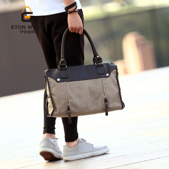 Harga Tidog The new fashion leisure canvas bag Korean men Bag Handbag Shoulder Satchel Bag tote bag - intl