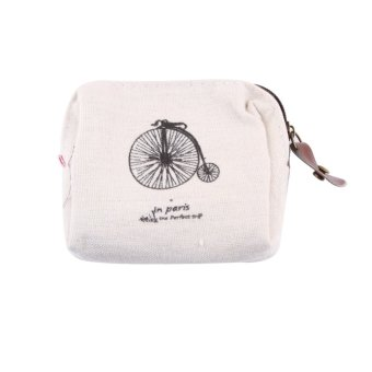 Hequ Hot Sale Classic Retro Canvas Tower Wallet Card Key Bag Pouch Case Girls Coin Purse Beige - Intl