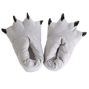 Harga Unisex Cosplay Plush Slippers Paw Pattern Gray