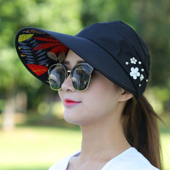 Harga Covering her face cap travel sun hat female summer outdoor folding sun hat uv sun hat (Leaves pearl-black)