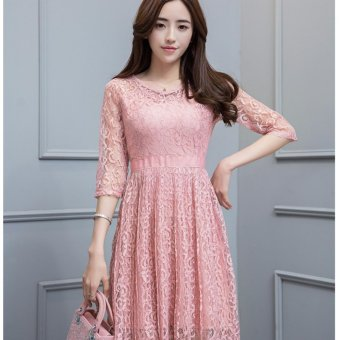 Harga Lace 3Q Heart Shape Dress-Pink