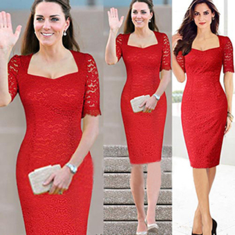 Harga Women Vintage Style Elegant Crochet Lace Bodycon Cocktail Party Evening Gown Sheath Dress Pencil Dress ( Red ) - intl