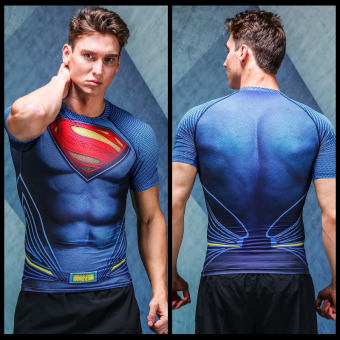 Harga Spider superhero iron man captain america superman tights male sports fitness jogging suit short sleeve wicking (Brand new muscle superman)