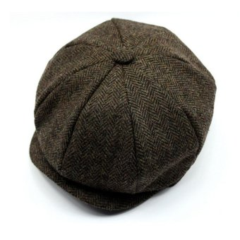 Men Women Peaked Cap Cabbie Newsboy Gatsby Flat Ivy Golf Baker Beret Flat Sun Hat Brown - intl