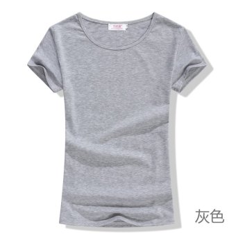Bf boyfriend style retro curling solid color t-shirt candy color t-shirt short sleeve t-shirt summer ladies loose t-shirt korean version of the influx of (Gray 2)