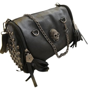 Harga Retro Skull Fringed Messenger Bag (Black)(Export)(Intl)