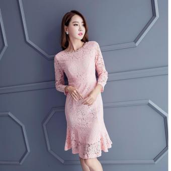 Harga Lace Mermaid Dress-Pink