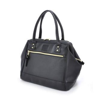 Harga 100% authentic Anello PU leather boston totebag unisex big carry capacity handcarry (color: BLACK)