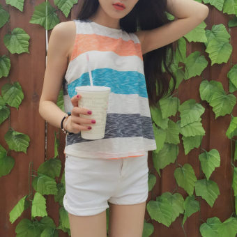 Harga Indole 2016 summer new chic style color stripe vest loose sleeveless t-shirt vest