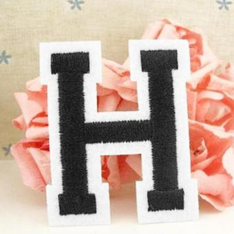 Harga Letter A-Z Embroidered Iron On Patch Sew Motif DIY Applique Accessories H