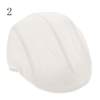 Mens Vintage Herringbone Flat Cap Peaked Racing Hat Beret Country Golf sboy white - intl
