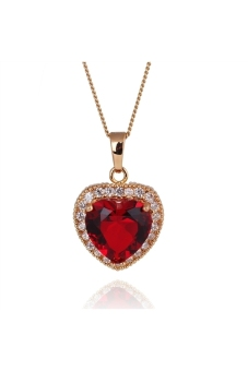 Harga Heart Shaped 18K Platinum Plated Pendant Necklace with Ruby & Zircon Red (EXPORT)