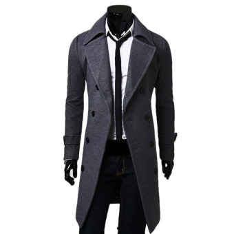 Harga Mens Winter Double-breasted Warm Coat Jacket Wool Parka Overcoat Grey XXL - intl
