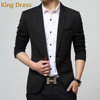 Harga Iron Free Man Suit Jacket Slim One Button Casual Men Blazer(Black) - intl