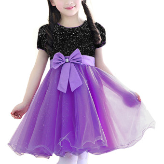 Harga NICESHOP Party Princess Girls Bowknot Shiny Short Sleeve Round Neck Dress Flower Girl Ball Birthday Wedding Dress (Black&Purple)