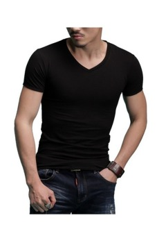 Harga Mens Short Sleeve V-Neck Crewneck Slim Fit T-Shirts Undershirts (V-neck Black)
