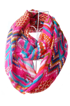 Harga Women Ladies Girls Chiffon Waves Geometric Pattern Printing Scarf Multicolor Infinity Loop Circle Scarf (Rosy)
