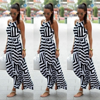 Fashion Women Sleeveless Striped Patchwork Maxi Long Dress w/ Belt - intl