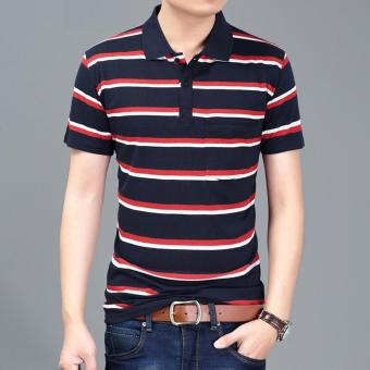 Harga Men's Fashion Stripes Lapel Short Sleeve Polo Shirt Cotton T-shirt DF11 - intl
