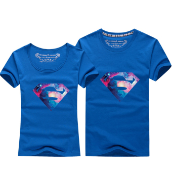 Harga 2017 new lovers summer lovers short sleeve t-shirt spring summer bottoming shirt sleeve class service men and women superman (Lake blue)