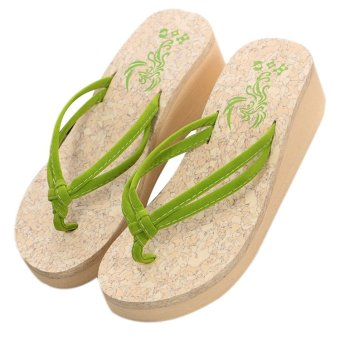 Harga Women's sandal Antiskid sandals Beach slippers Platform shoes flip flops (Green)