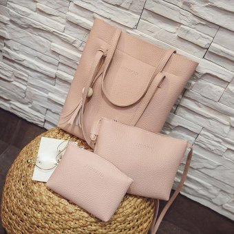 Women Three Piece Bag Top Handle Bags Fashion Messenger Bags Handbag Bag Pink - intl