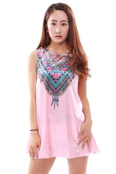 Harga LALANG O-neck Printed Dress (Pink)