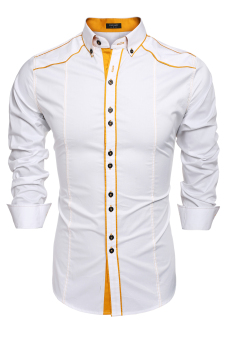Harga Cyber COOFANDY Men Fashion Turn Down Collar Long Sleeve Contrast Color Cotton Button Down Casual Shirts (White)