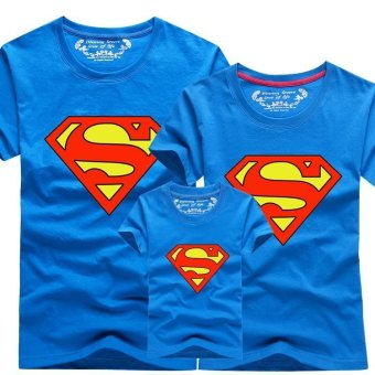 Harga Family Matching Clothes Christmas Outfit Mother Daughter Son Children Superman Baby Girl Boys T-Shirts (Kids Light Blue) - intl