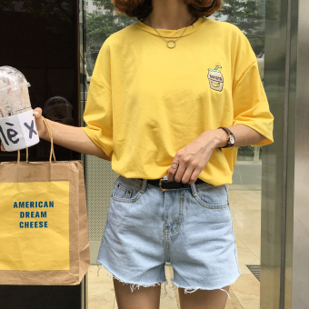 Harga Summer korean institute of wind loose cartoon embroidery solid color cotton loose wild round NECK short sleeve t-shirt female tops (Yellow)