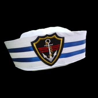 Sailors Ship Boat Captain Blue White Military Hat Navy Marine Cap With Anchor Sea Boating Nautical Fancy Dress Hat - intl