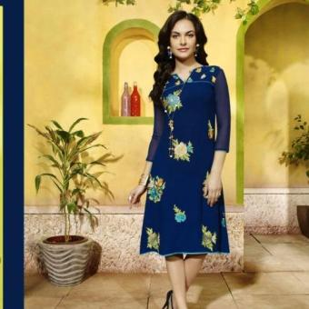 Sawan Selection Georgette Embroidered Indian Kurti/Tunic(Blue)