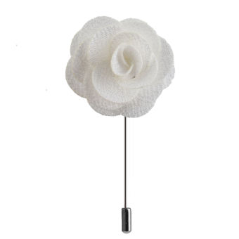 Handmade Fabric China Rose Lapel Men's Brooch Boutonniere Tuxedo Pin Beige