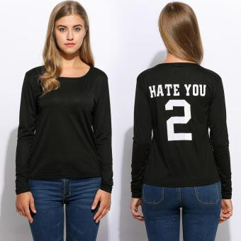 Harga Fashion Women O-Neck Long Sleeve Back Letter Printed Casual T-Shirt Tops - intl