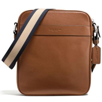 Harga Coach Men Smooth Leather Charles Flight Bag Crossbody Bag Men Dark Saddle / Brown # F54782
