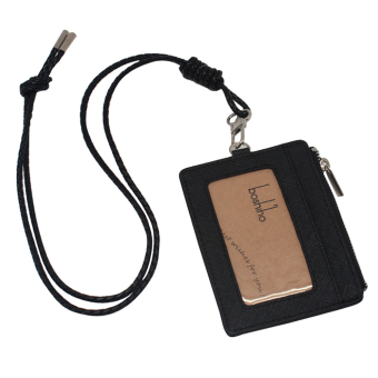 Harga Boshiho Saffiano Leather Badge Holder ID Card Holder with Coin Change Purse