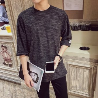 Summer fifth sleeve t-shirt men loose bat shirt sleeve round neck t-shirt korean version of the influx of young white off the shoulder sleeve (Black)