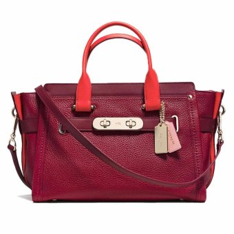 Harga Coach Color Block Swagger Carryall Satchel 36154 Black Cherry