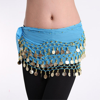 Harga Women Gold Metal Coins Waist Chain Belly Dance Hip Scarf Belt Skirt Chain Lake Blue - intl