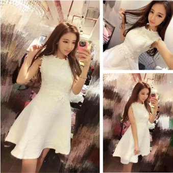 2016 summer new korean ol slim pure white lace bridesmaid dress evening dress ladies dress sexy nightclub