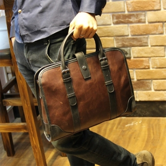Harga Tidog Crazy Horse Leather Handbag Bag New Men's fashion business bag - Intl