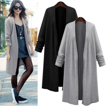 Harga ZANZEA Fashion Women Long Sleeve Casual Loose Cardigan Long Jacket Trench Coat Parka Top (Black) - intl