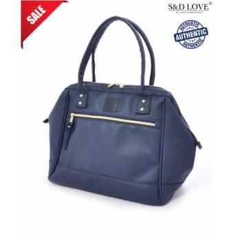 Harga 100% authentic Anello PU leather boston totebag unisex big carry capacity handcarry (color: NAVY)