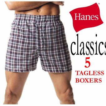 Harga Hanes TAGLESS® Men's Woven Boxers 5-Pack