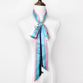 Harga Spring and autumn thin long narrow tie small professional scarf female scarf wrapped around the handle bag belt decoration ribbon scarf (Light blue pink striped)