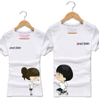 Harga Cartoon lovers beach summer digital printing class service men and women couple short sleeve half sleeve t-shirt summer large size (White)