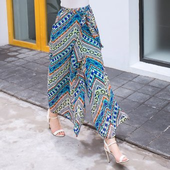 Harga Spring and summer new bohemian floral chiffon printing wide leg pants female culottes wide leg pants leisure trousers skirt (Blue)
