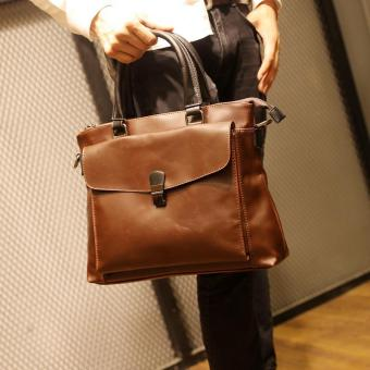 Harga Tidog Crazy horse leather briefcase retro business Bag - intl