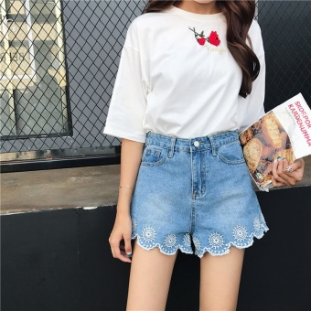 Summer Women's New style Korean-style chic loose Slimming effect wild high waist embroidery wear white washed denim shorts student